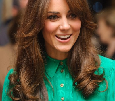 Kate Middleton in green with bangs