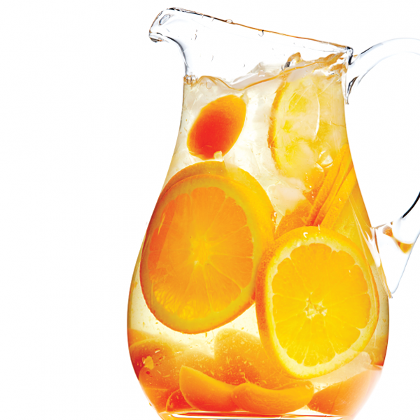 slices of orange in a pitcher of water