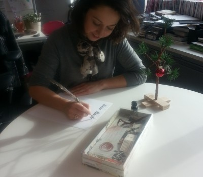 Chatelaine Associate Lifestyle Editor Alex Laws writing a letter #kindcycle