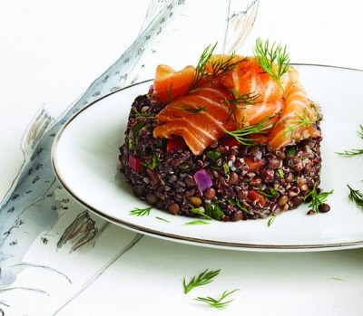 Smoked salmon and lentil pilaf recipe