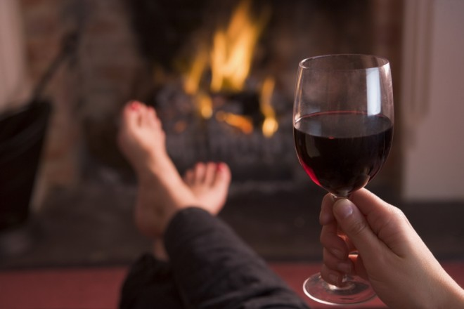 Drinking Red Wine in front of the fire