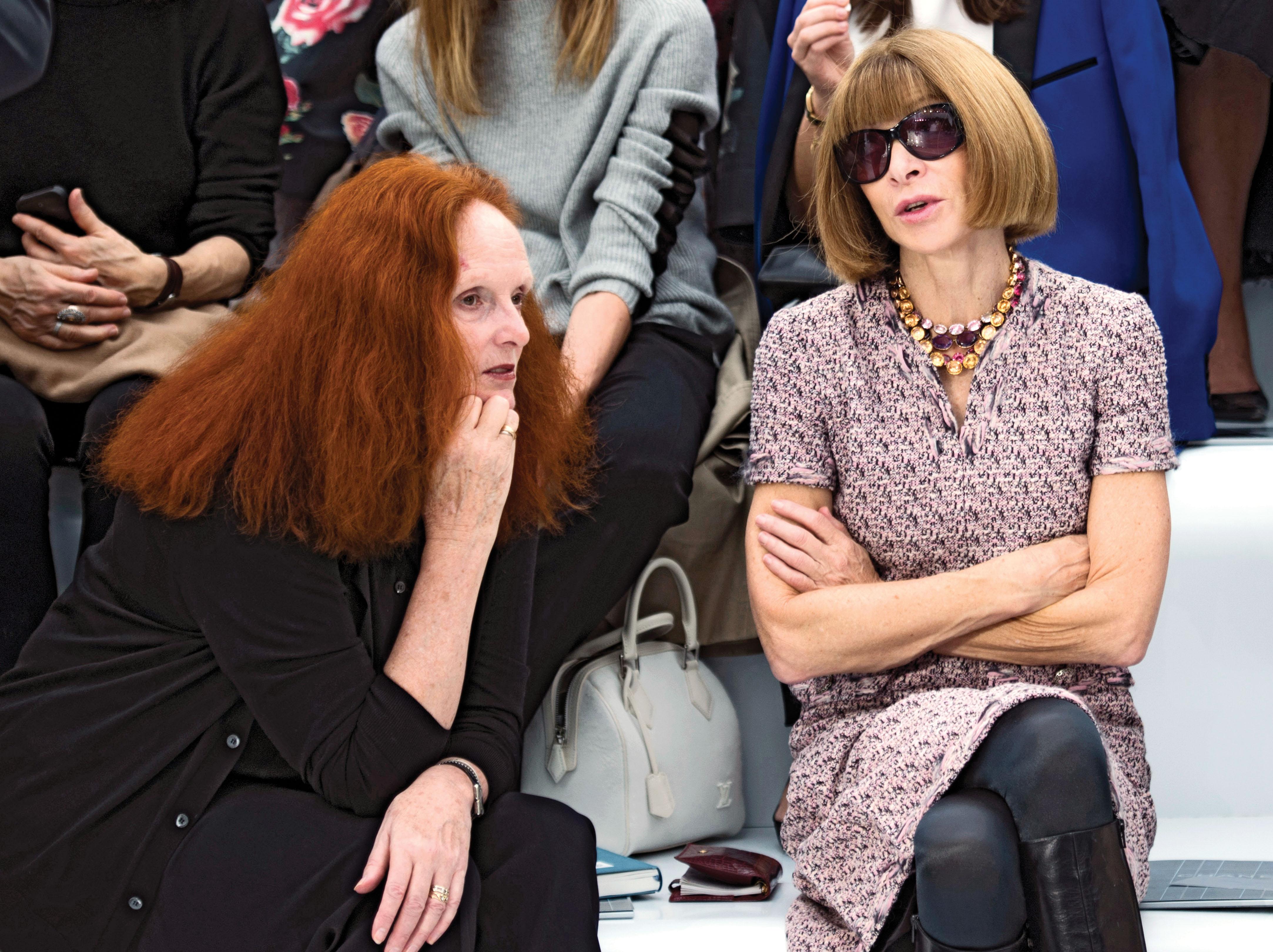Grace Coddington and Anna Wintour front row, Jan 12, p125