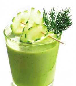 Green smoothie, cucumber, glass