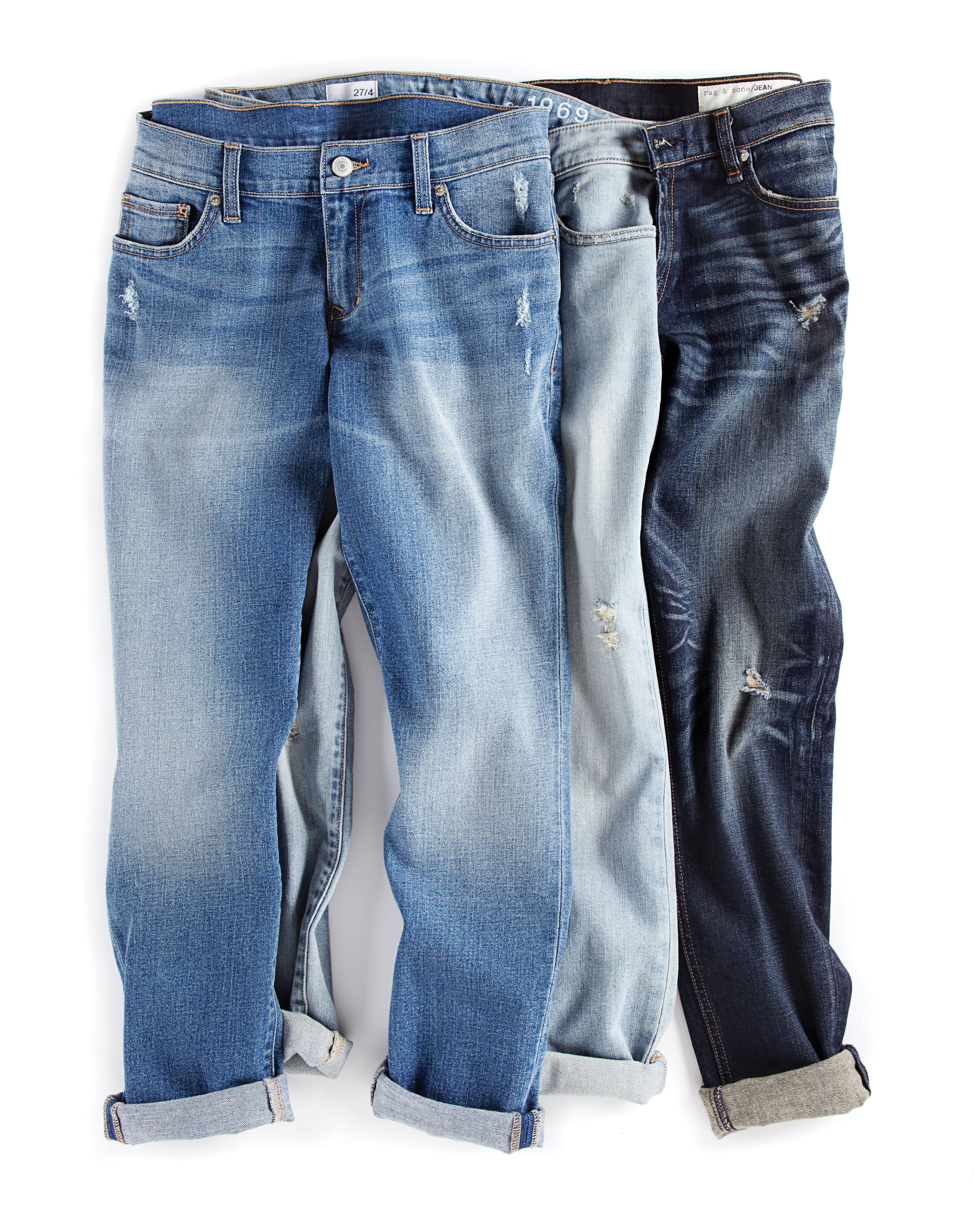 Three pairs boyfriend jeans, denim, Jan 13, p45