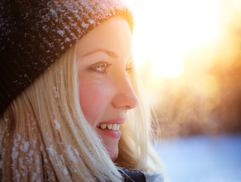 blonde woman winter outdoors