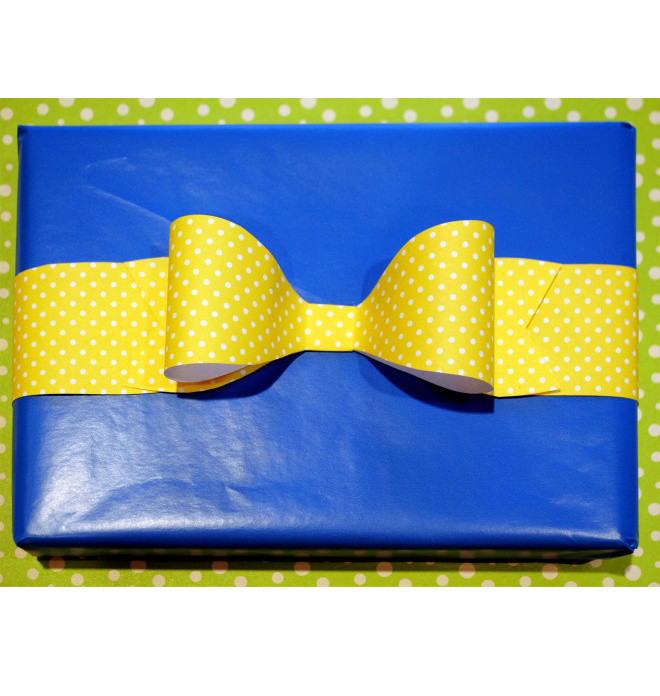 paper gift bow, blue present with yellow bow