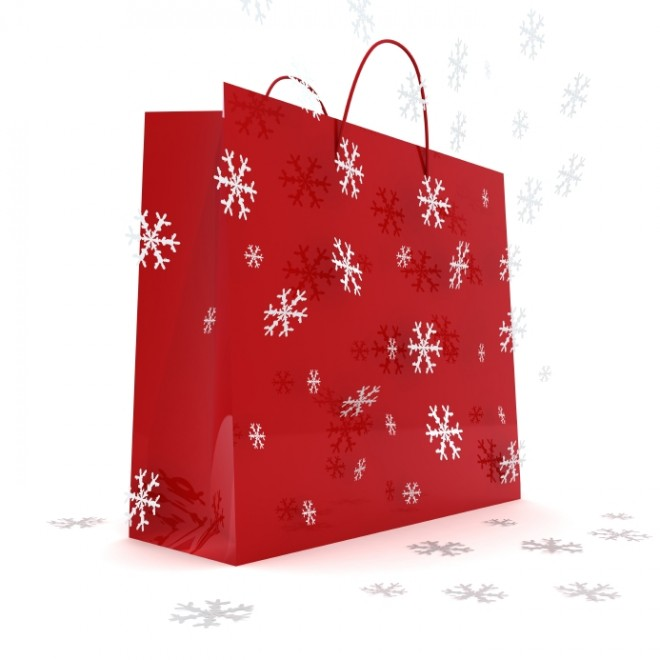 red shopping bag snowflakes Holidays Christmas