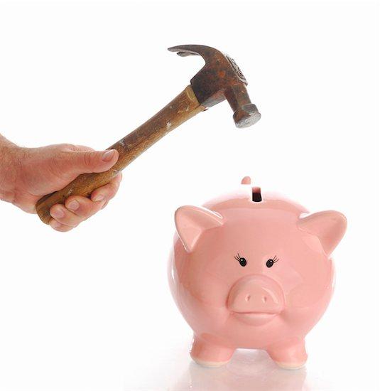 piggy bank and hammer, breaking bank, money