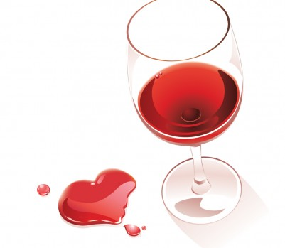 Glass red wine, heart spill, Feb 13, p108