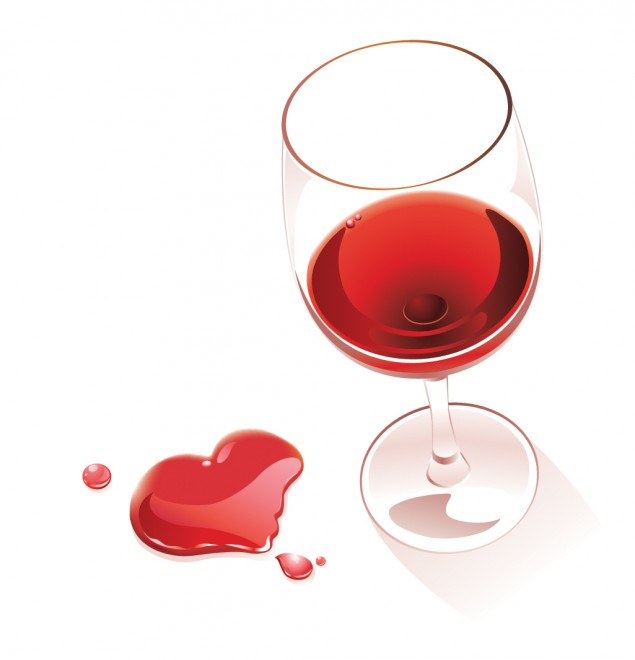 Glass red wine, heart spill, Feb 13, p108