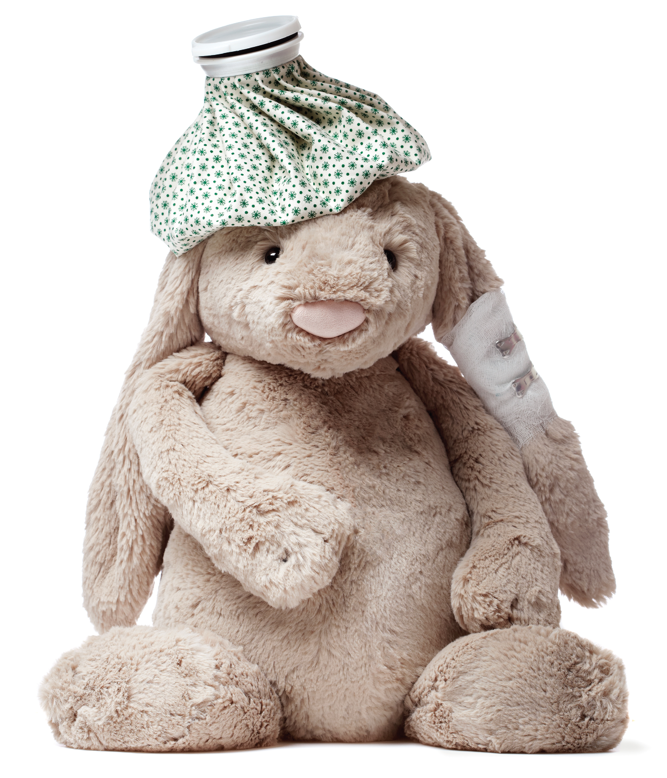 Stuffed bunny rabbit with ice pack and bandages, Feb 13, p100