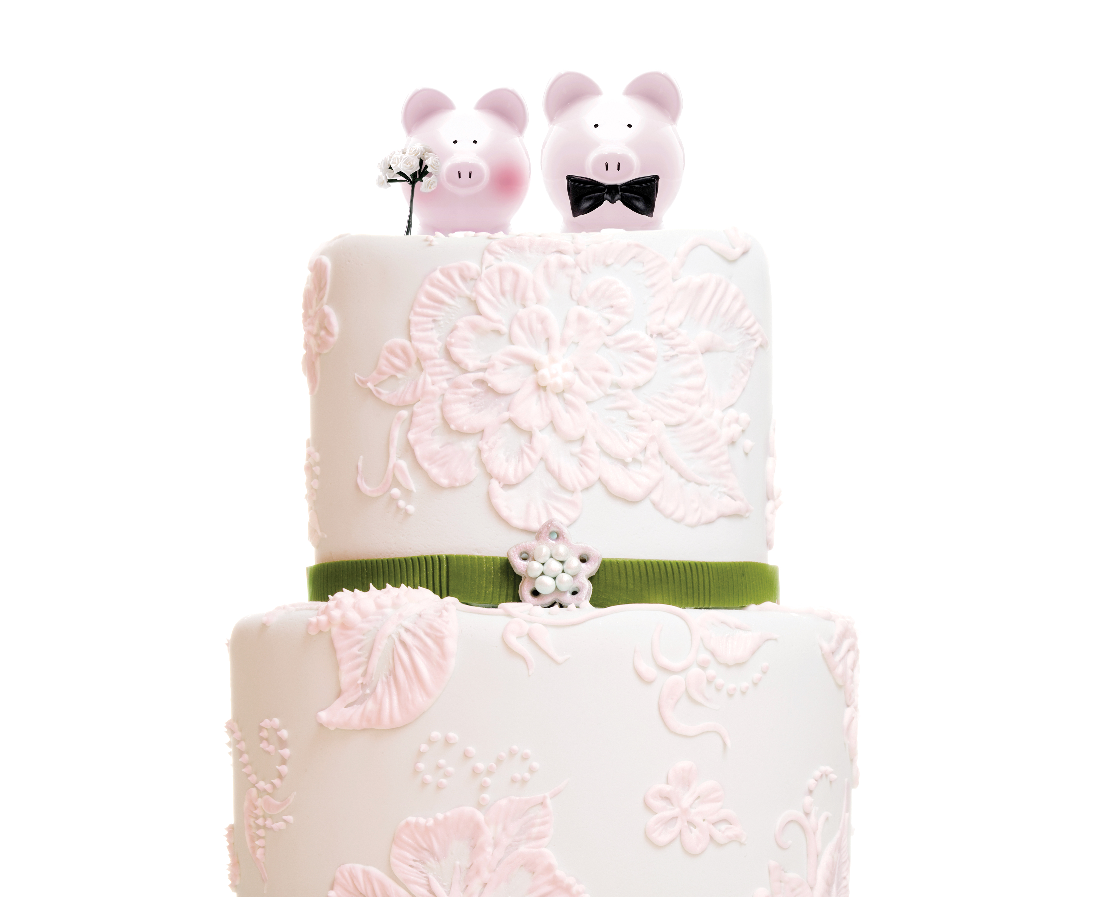 Wedding cake with pigs image for what do if you can't afford to go to a wedding