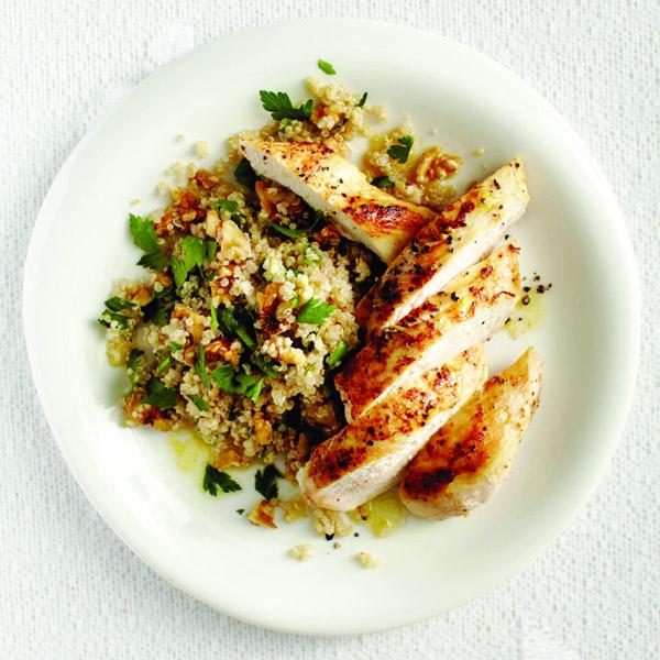 Maple-cider chicken and nutty quinoa recipe