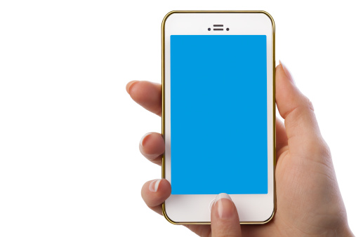 technology woman holding white smart phone with blank blue screen