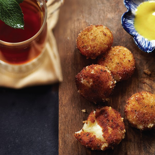 Fried cheese pops and mint to