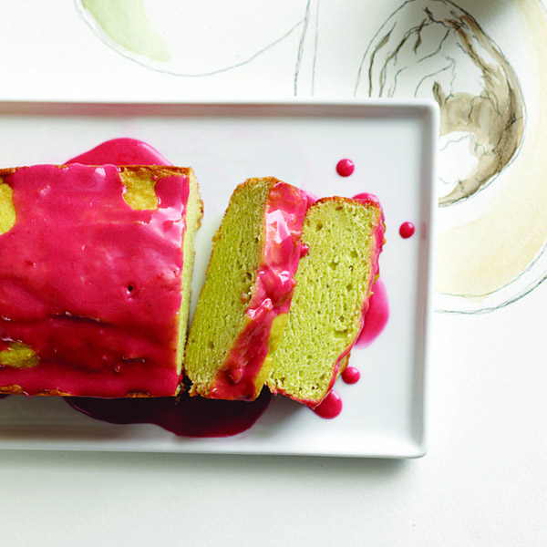 Avocado pound cake with raspberry glaze. Photo, Roberto Caruso.
