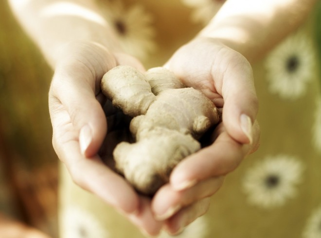 Woman holding ginger root