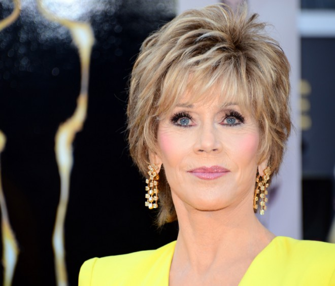 Jane Fonda arrives on the red carpet for the 85th Annual Academy Awards