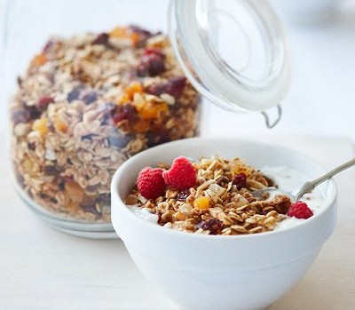 Maple and candied ginger granola