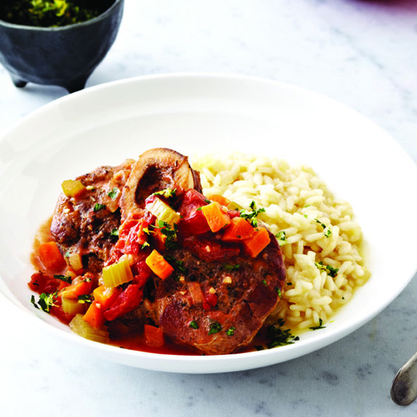 osso bucco served with risotto