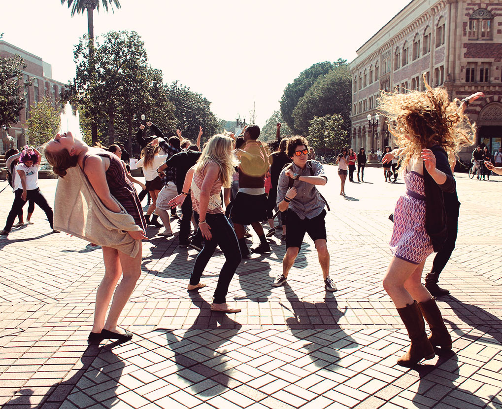 """When DJ Baauer released """"Harlem Shake"""" without a video, versions of the dance went viral, including some underwater, on army bases and on the street on Trousdale Parkway, L.A., California (above); Photo by the Daily Trojan"""