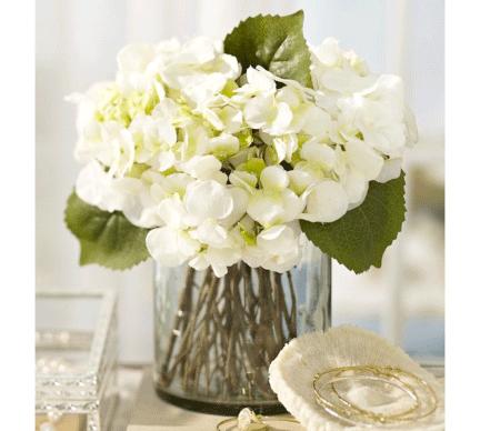 Flower-arrangement-idea-Faux-hydrangea-arrangement-in-clear-glass-vase-Pottery-Barn