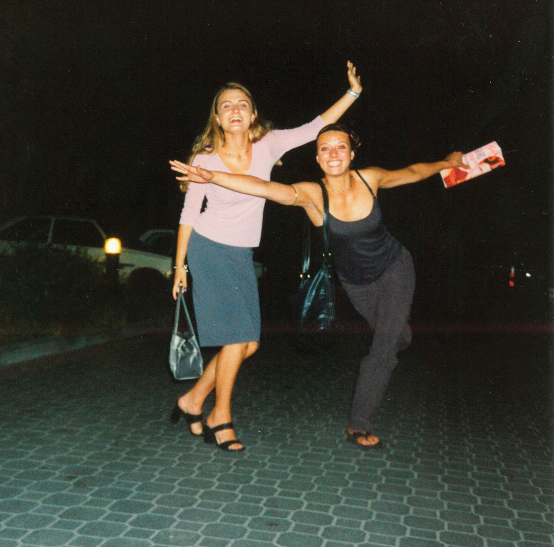 Dancing on the street with a friend when she was 21 and travelling through Europe