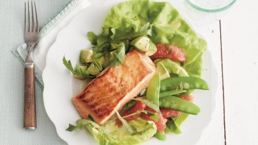 Seared salmon salad with grapfruit avocado and snap peas