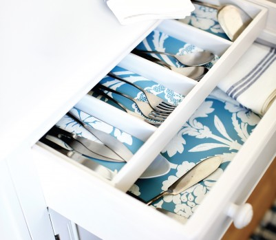 Wallpapered cutlery drawer April 13 p201