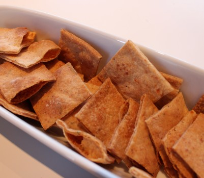 Homemade pita crackers