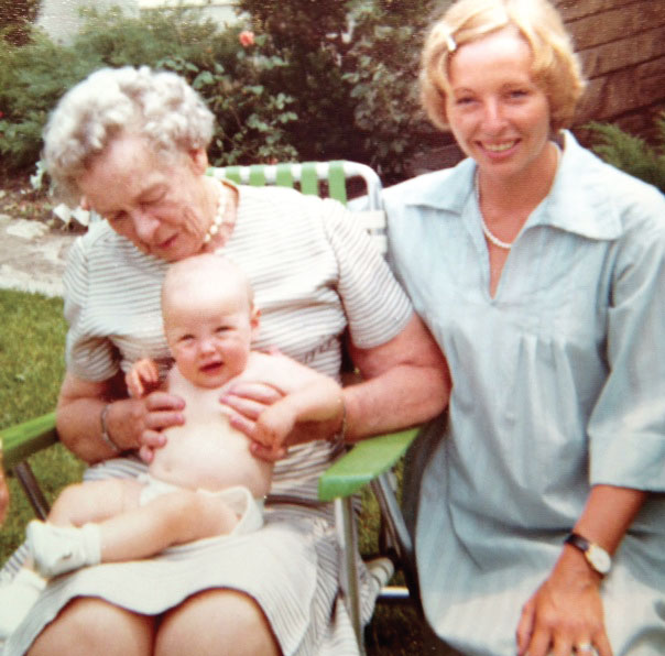 Leah McLaren as a six-month-old baby with her maternal grandmother and her mother, Cecily Ross.