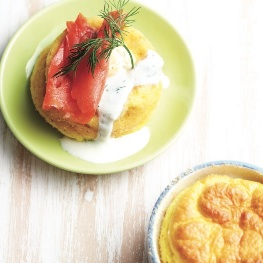 Goat cheese soufflé with smoked salmon and dilled cheese sauce