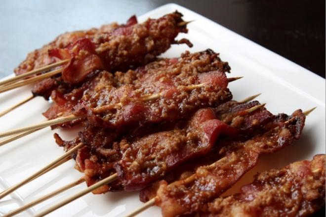 Maple-walnut bacon on a stick