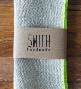 Smith Handmade Set of 6 Linen cocktail napkins - NEON CHARTREUSE