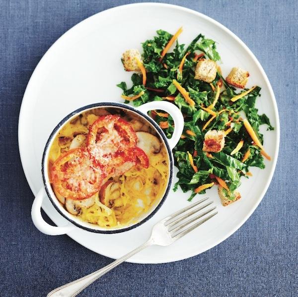 Spaghetti-squash tetrazzini & kale salad