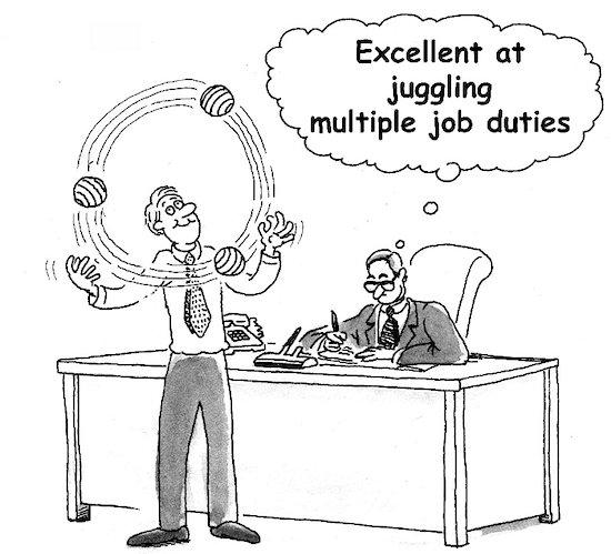 juggling job duties illustration cartoon