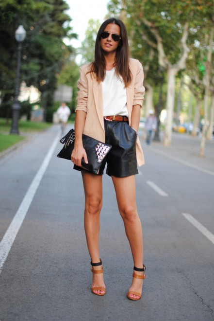 Women in leather shorts