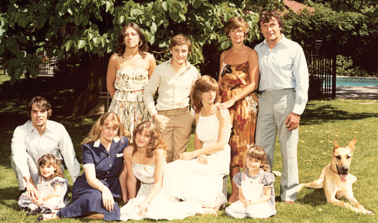 The newly blended family at Judith and Sid's wedding, 1974