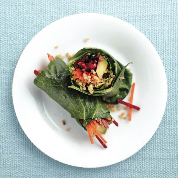 Curried quinoa and collard green wraps