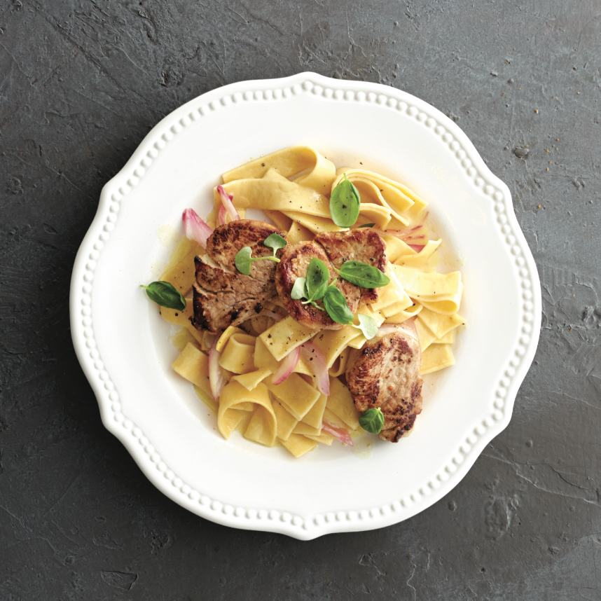 Pan-seared balsamic pork and noodles