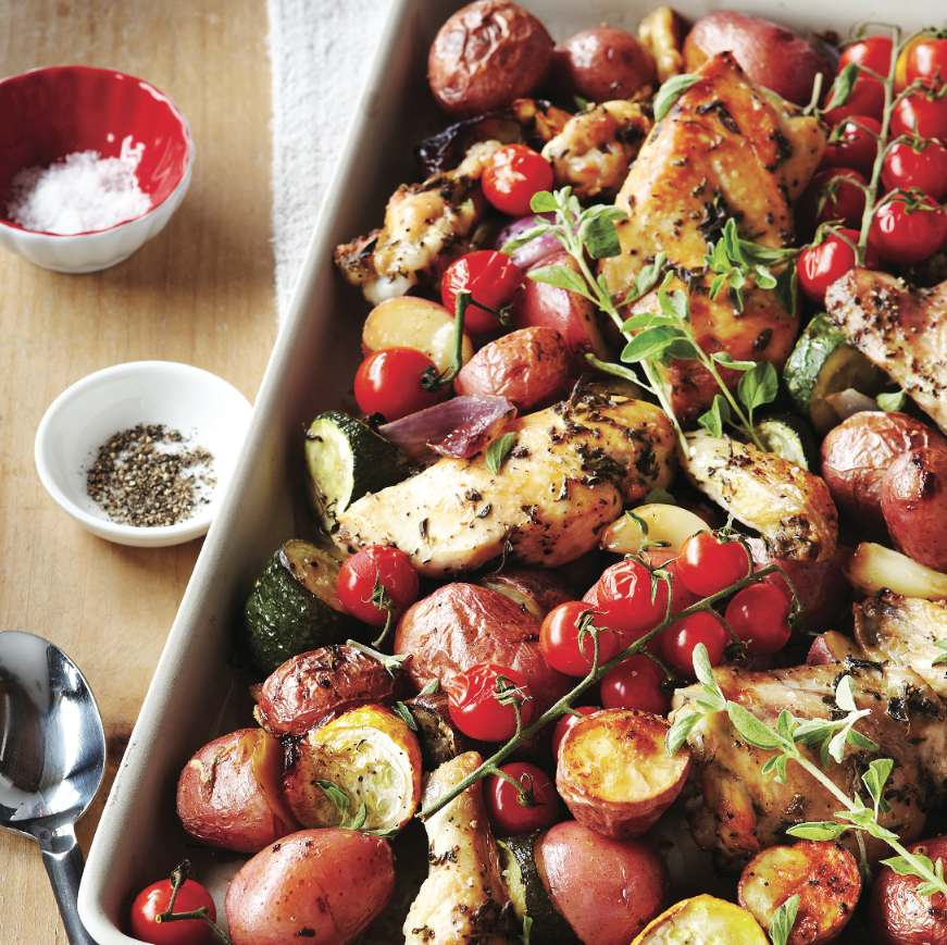 One-tray herbed chicken and roasted vegetables