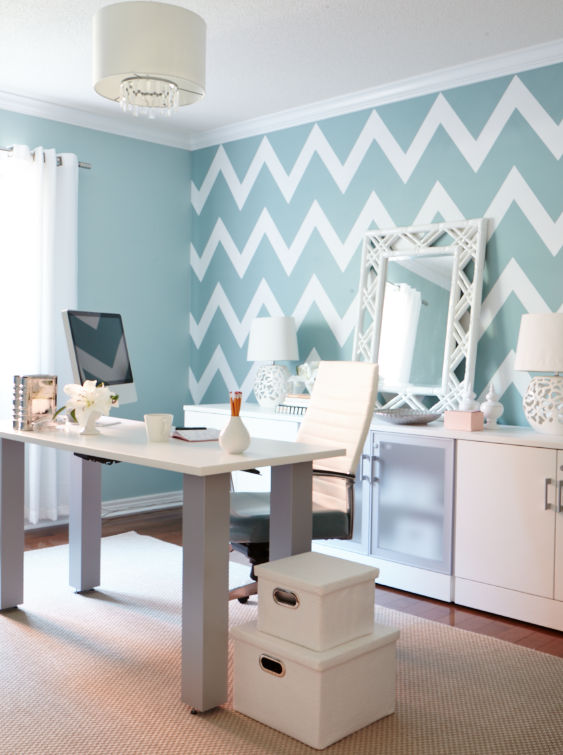 Interior designer Jo Alcorn Whitewash & Co home office chevron wall blue