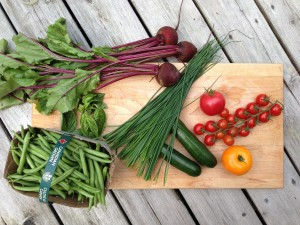 August's harvest vegetables, beets, tomatoes, beans, chives, zucchini
