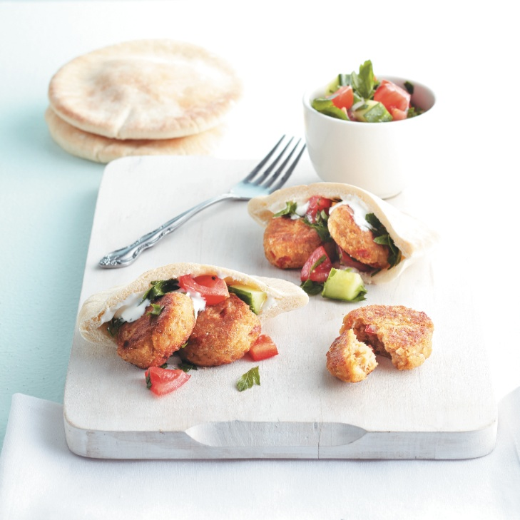 Red pepper and falafel cakes