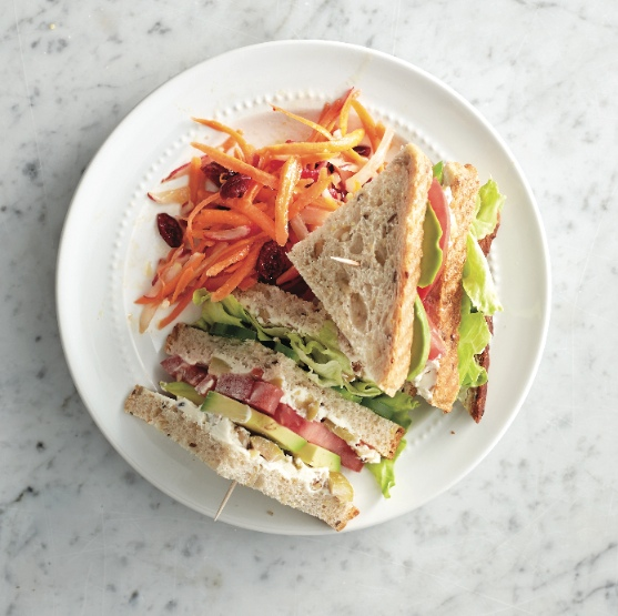 Vegetarian clubhouse sandwich
