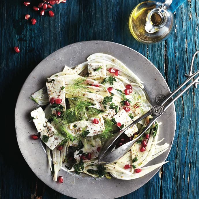 Fennel and feta salad with pomegranate