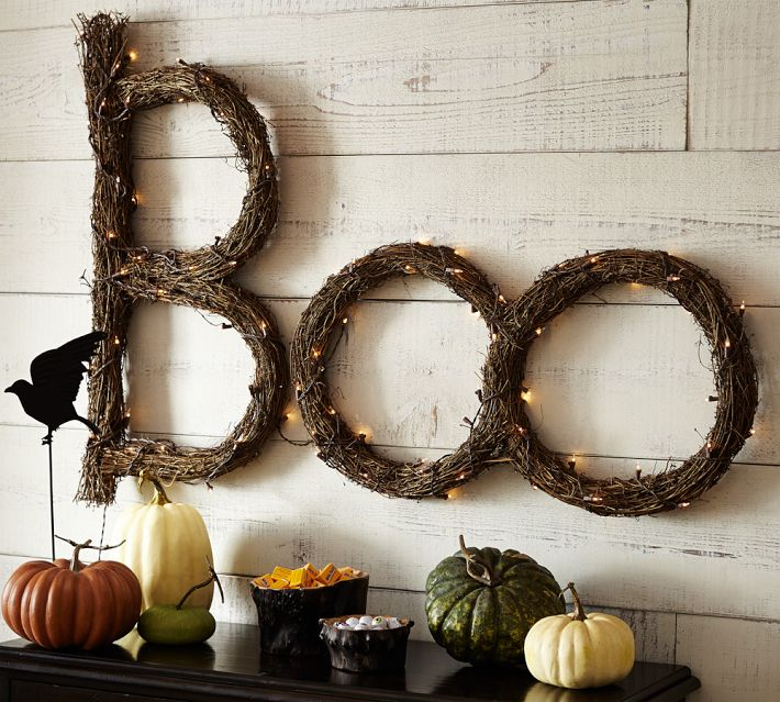 Halloween decoration Boo twig sign twinkle lights