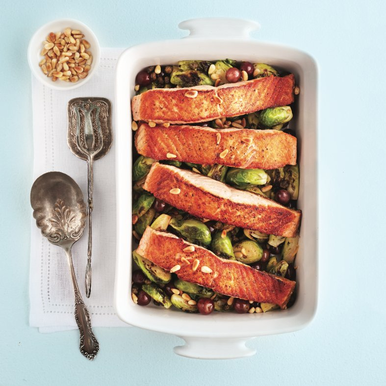 Pan-fried salmon with brussels sprouts