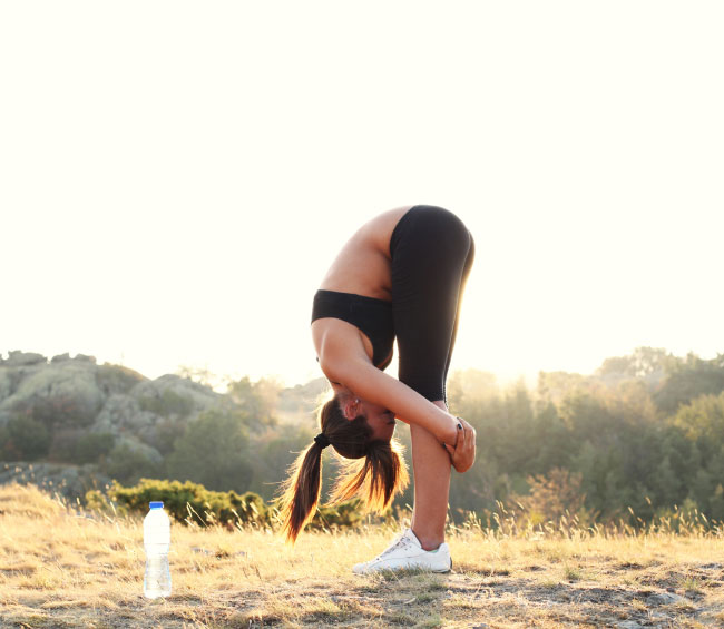 A runner stretches before going for a jog