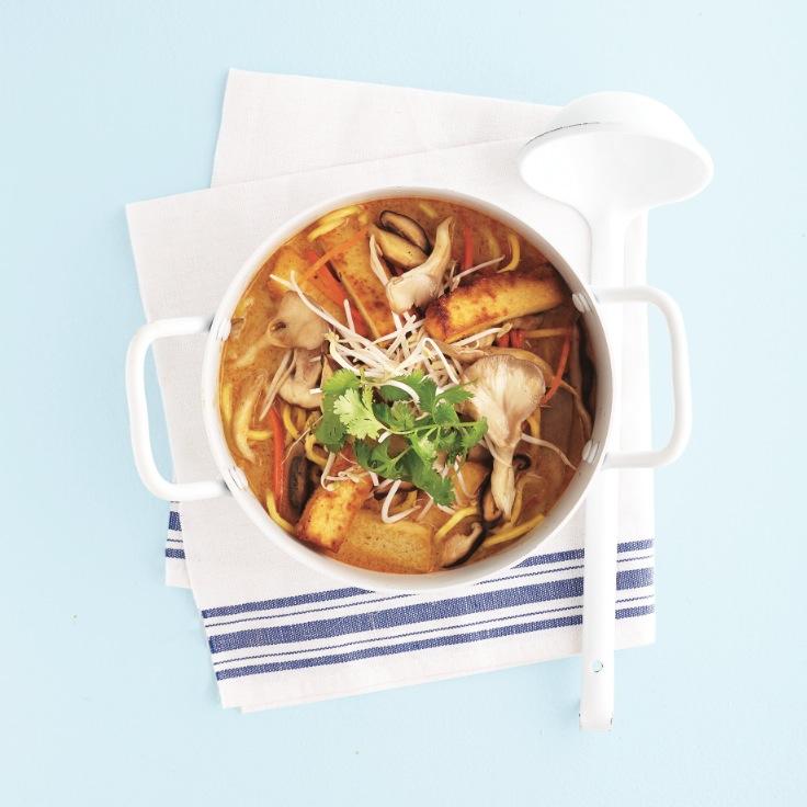 Tofu egg-noodle laksa soup